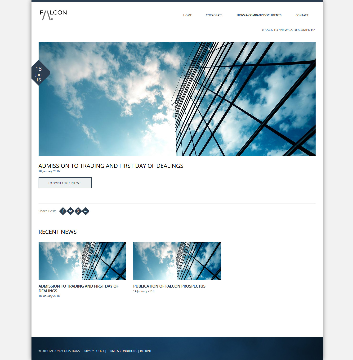 Signature de Luxe - Site web - Falcon Acquisitions