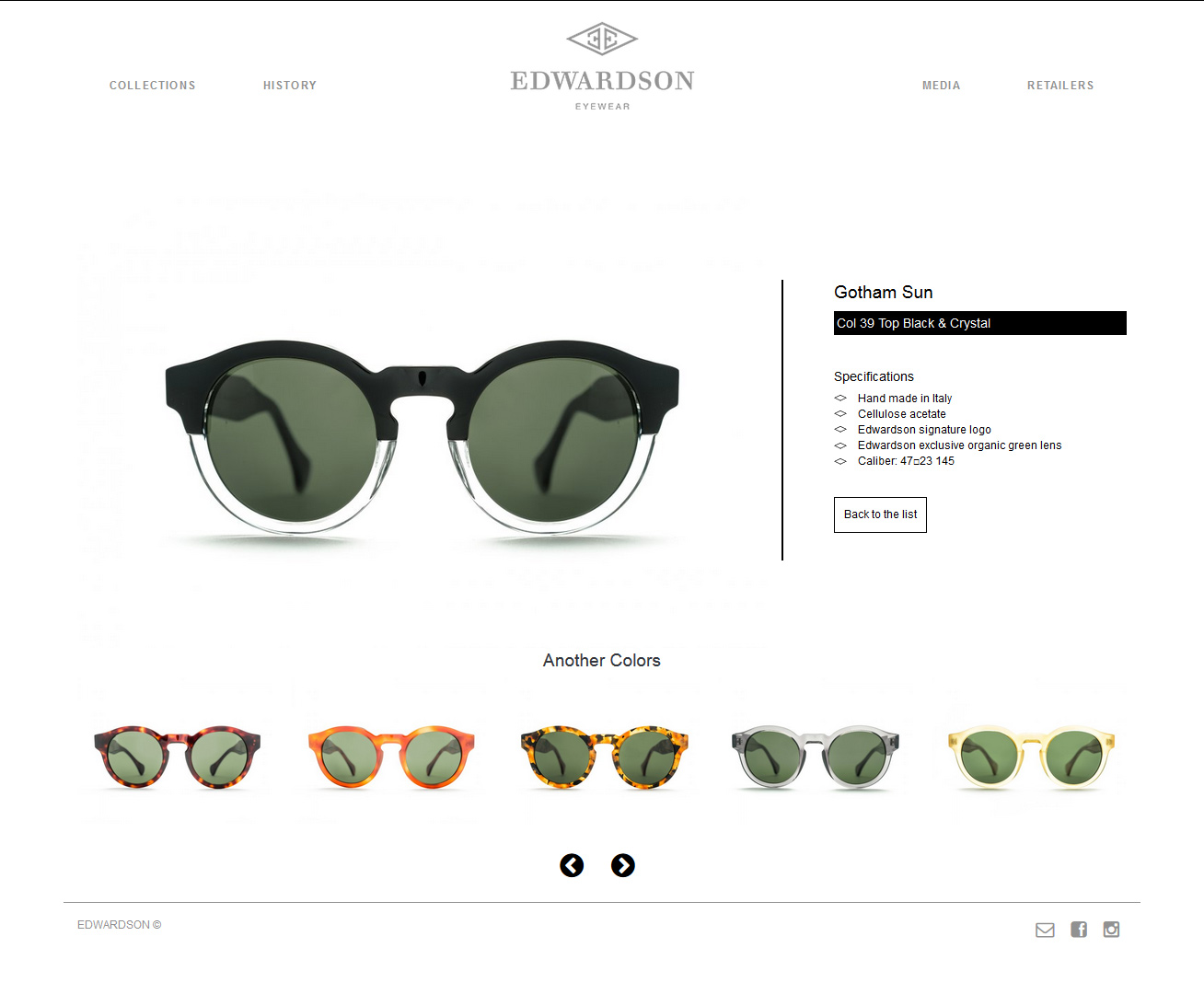 Signature de Luxe - Site web - Edwardson Eyewear